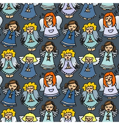 Angel cartoon pattern vector image vector image
