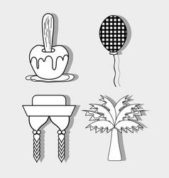 apple balloon hat braids and palm festa junina vector image vector image