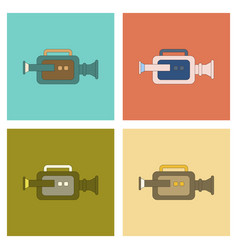 Assembly flat icon technology camcorder vector
