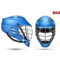 Blue lacrosse helmet set vector