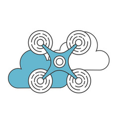Drone flying technology with clouds vector