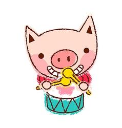 Drumming Pig vector image vector image