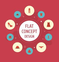 Flat icons elegant headgear heeled shoe fedora vector