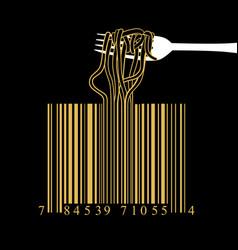 Fork spaghetti barcode design idea concept vector
