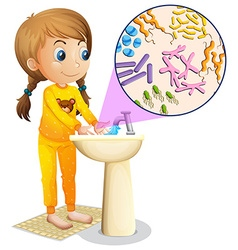 Girl washing hands in the sink vector image