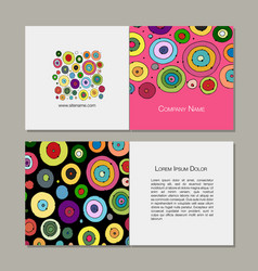 Greeting cards set abstract circles design vector