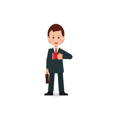happy businessman in suit with briefcase holding vector image vector image