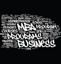 mba overview text background word cloud concept vector image