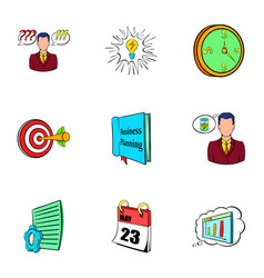 Office life icons set cartoon style vector