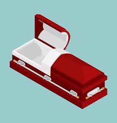 Open coffin isometrics wooden casket for burial vector