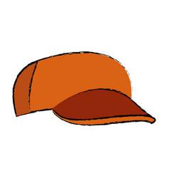 Orange baseball cap sport accessory vector
