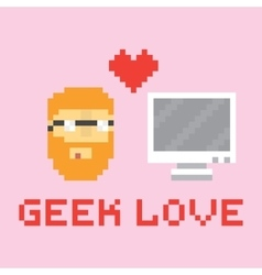 Pixel art style geek in love with computer vector image vector image