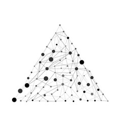 Pyramid with dots and lines wireframe vector