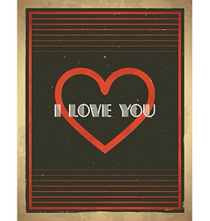 Retro Valentines Day card vector image