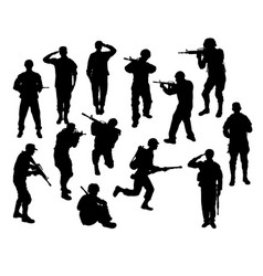 Soldier silhouettes vector