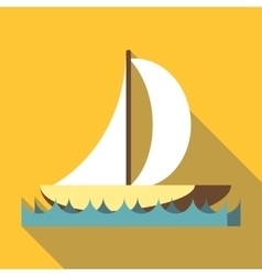 Sport boat with a sail icon flat style vector