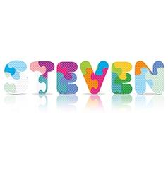 Steven written with alphabet puzzle vector