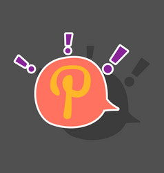 Sticker icon of pinterest on background with vector