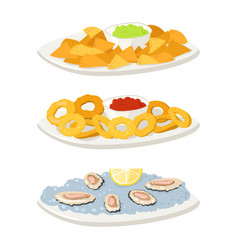Various oysters meat canape snacks appetizer chips vector