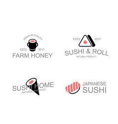 Vintage japanese food and sushi soy rolls vector
