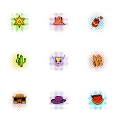 Wild west icons set pop-art style vector