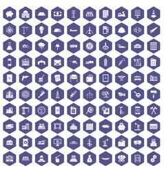 100 plant icons hexagon purple vector image vector image