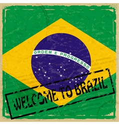 Vintage background with flag of brazil vector