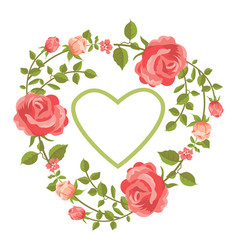 Floral card with roses and heart vector