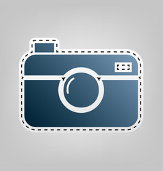 Digital photo camera sign  blue icon with vector