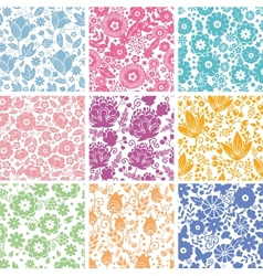 Set Of Nine Abstract Flowers Seamless Patterns vector image