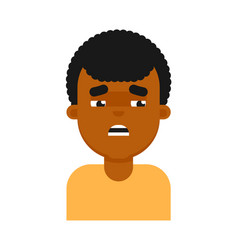 Tired facial expression of black boy avatar vector