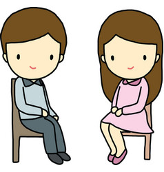 Sitting boy and girl vector