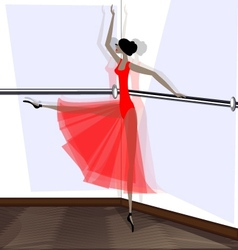 Exercising of ballet dancer in red vector