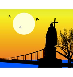 monument to st vladimir the baptizer of rus in kie vector image