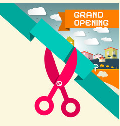 Grand opening title with scissors and town vector