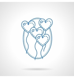 Heart balloons blue flat line icon vector