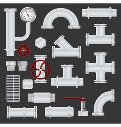 Realistic pipeline elements vector