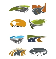 Road landscapes symbols for transportation design vector
