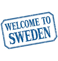 Sweden - welcome blue vintage isolated label vector