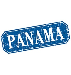 Panama blue square grunge retro style sign vector
