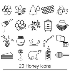 Set of honey theme black outline icons eps10 vector