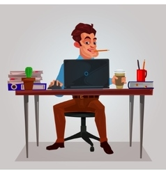 a man working on the laptop vector image