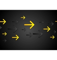 Abstract tech dark black background with arrows vector image vector image