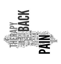 Back pain therapy text word cloud concept vector