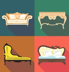 Bedroom home decoration icon set flat style Digita vector image vector image