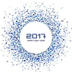 Blue confetti circle frame new year 2017 vector