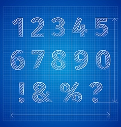 blueprint font vector image