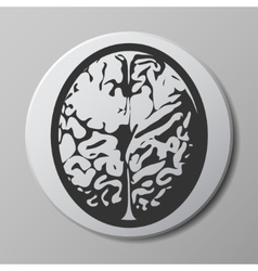 brain grey icon on round button with shadow vector image vector image