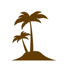 brown silhouette island with two palms vector image vector image