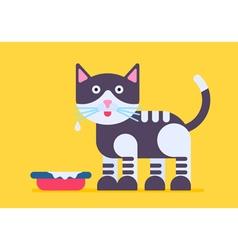 Cat milk flat vector